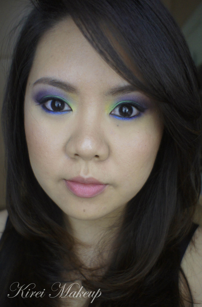 green and purple eyeshadow