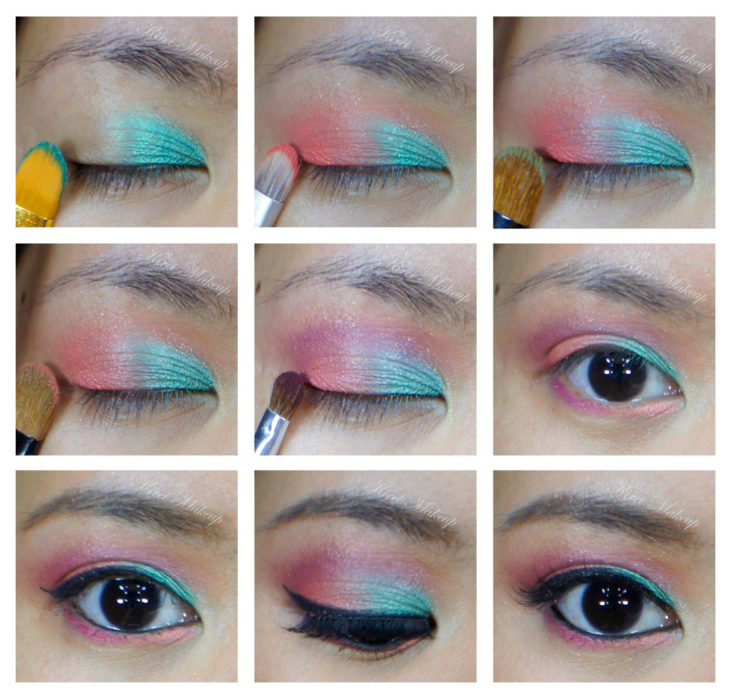 coral and mint makeup