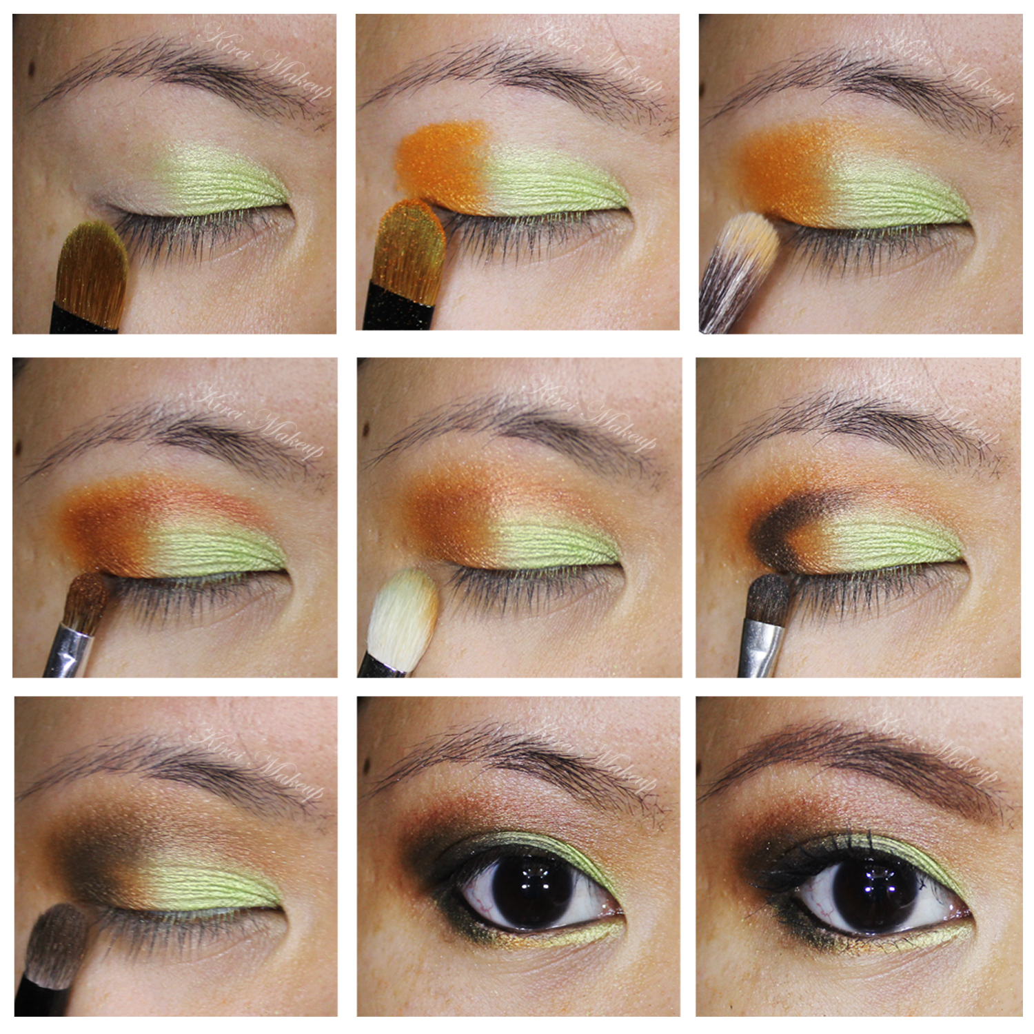 orange and mint makeup