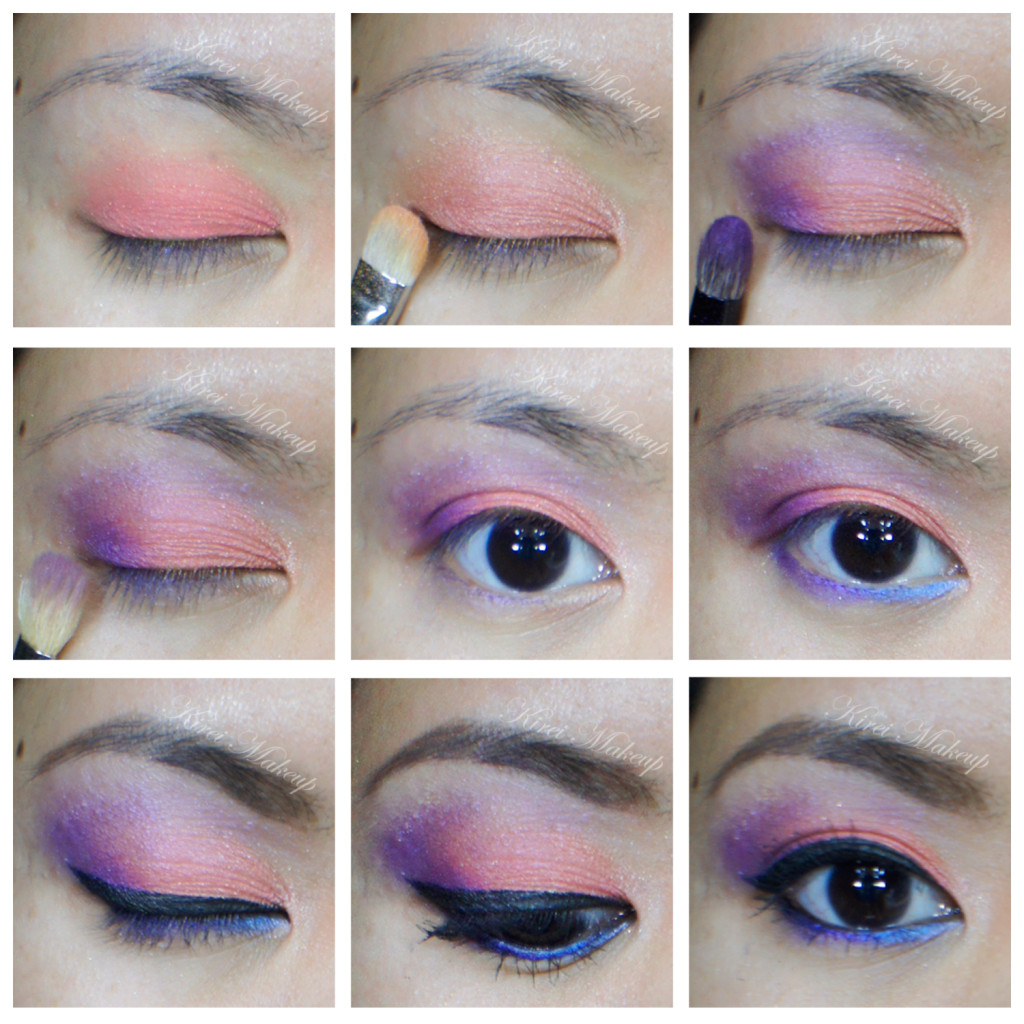 coral and purple makeup