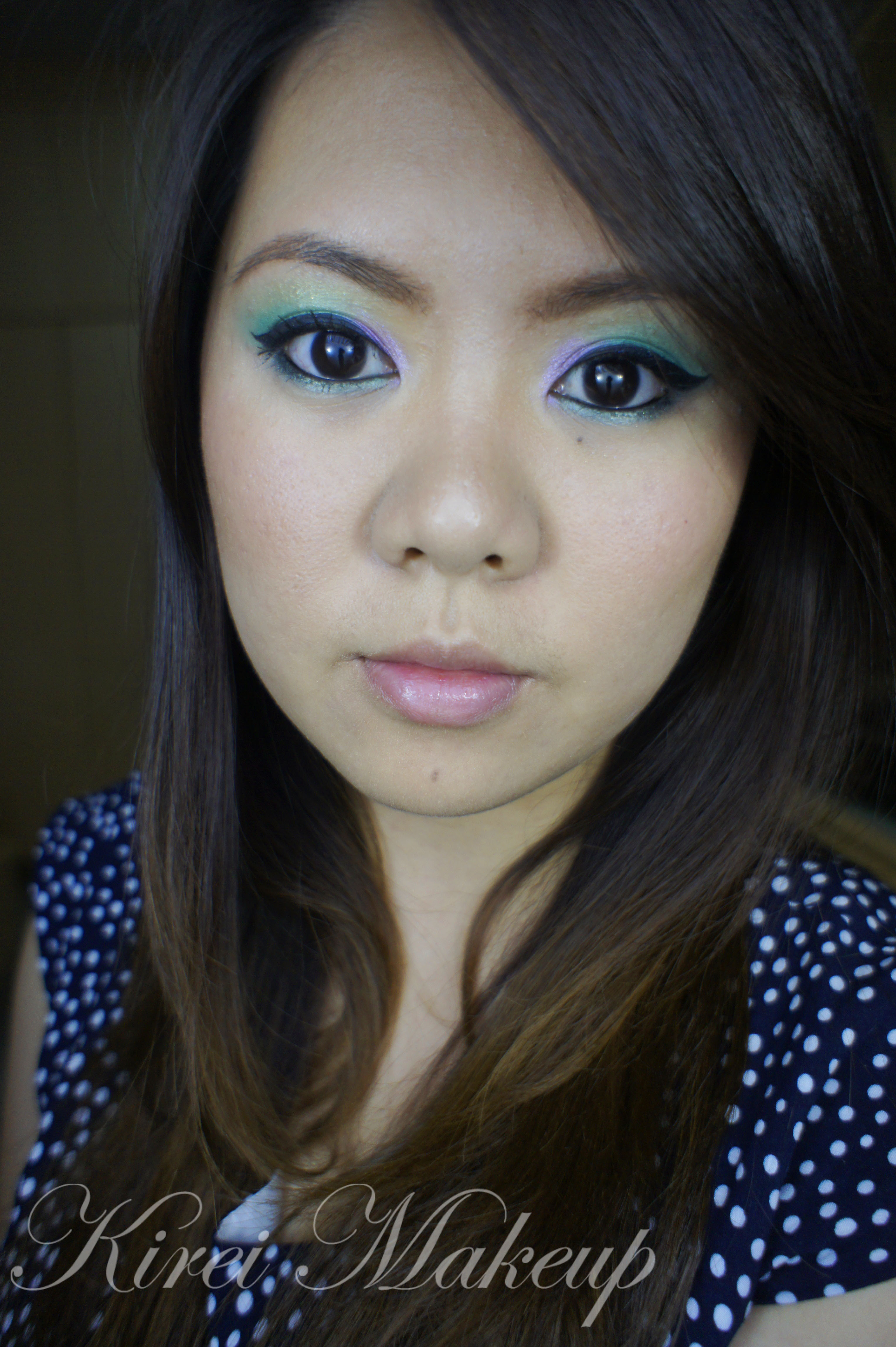 green and purple makeup