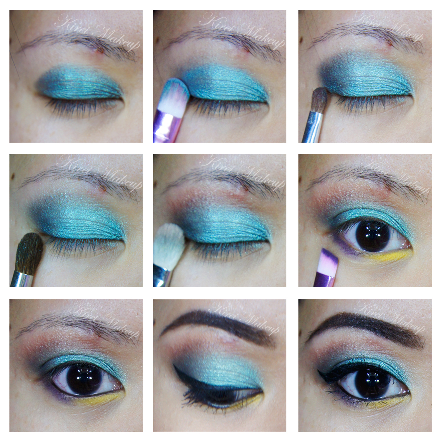 Purple and teal makeup