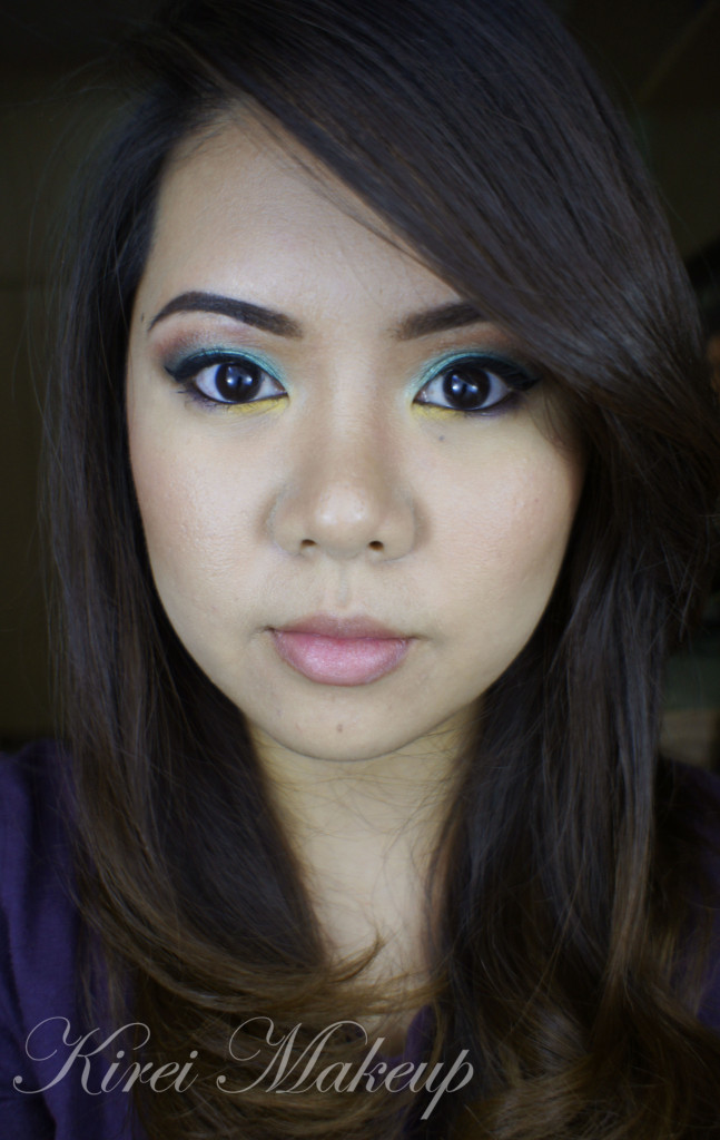 Teal and purple makeup
