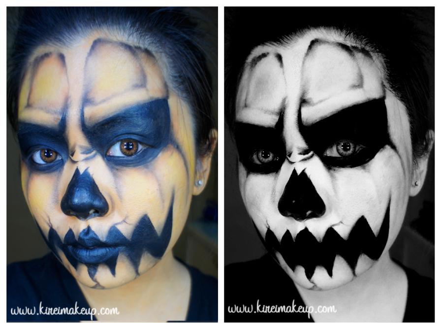 creepy jack-o-lantern face paint