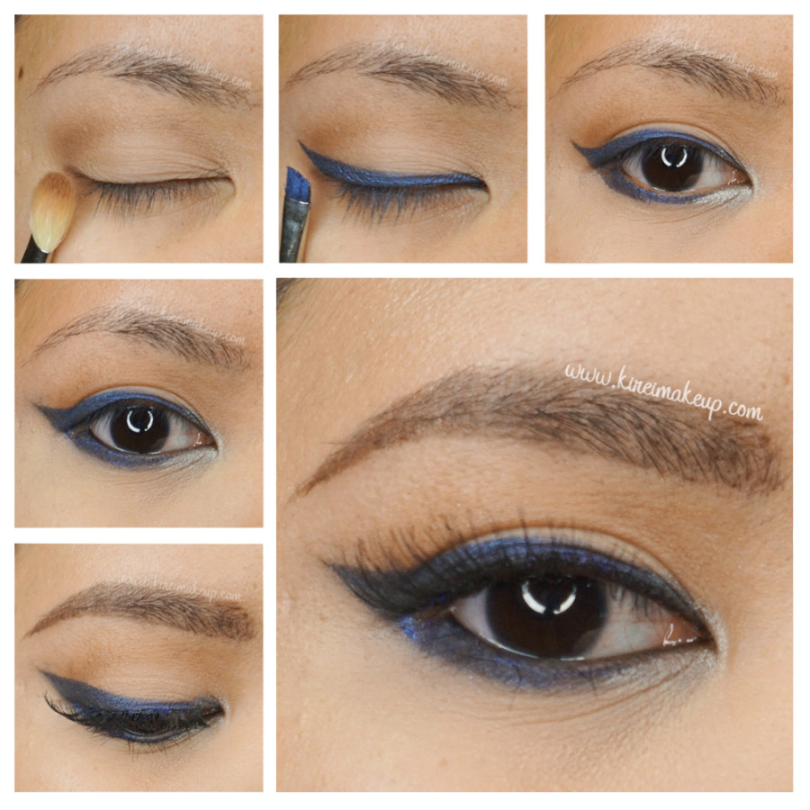 navy blue winged liner