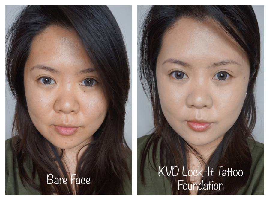 kvd lock it tattoo foundation before after