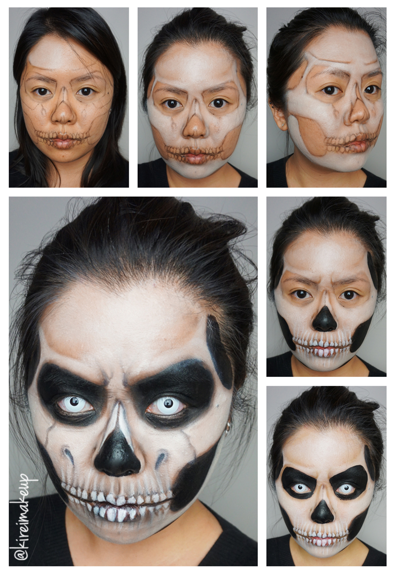 skull makeup step by step