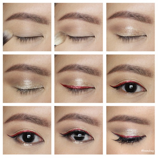 how to wear red eyeliner