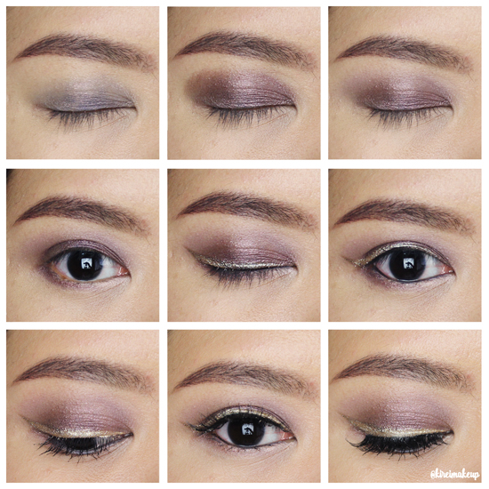 Purple Smoky Eyes with Gold Glitter Liner