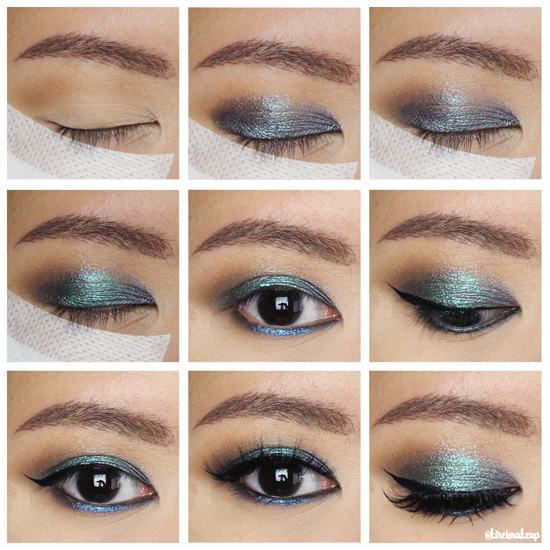 glitter smoky eyes