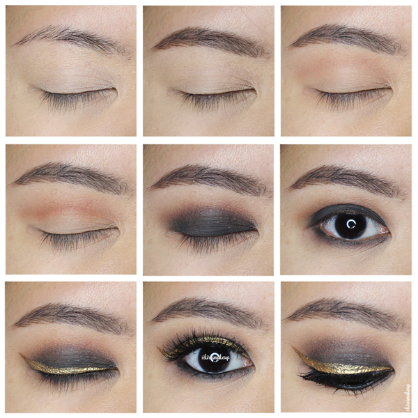 black smoky eyes with gold liner